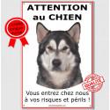 """Alaskan Malamute, plaque portail """"Attention au Chien"""" 24 cm ECO"""