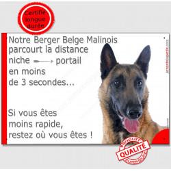 Plaque Berger Belge Malinois Attention chien parcourt la distance niche portail moins de 3 secondes, moins rapide