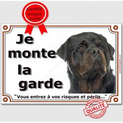 """Rottweiler, plaque """"Je Monte la Garde"""" 2 tailles LUX C"""