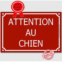 """Plaque Portail """"Attention au Chien"""" Rue Bordeaux Rouge Basque 3 tailles CLR A"""