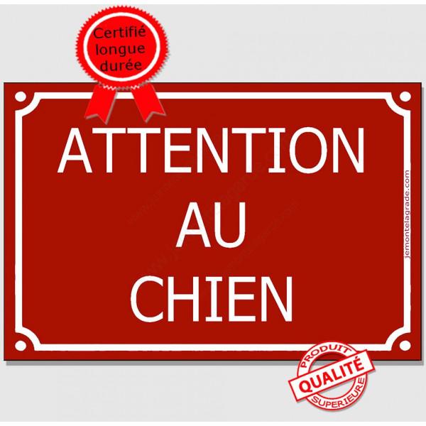 Attention au Chien, Plaque de Rue Bordeaux Rouge Basque panneau affiche pancarte portail