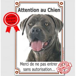 """Cane Corso gris, plaque verticale """"Attention au Chien"""" 24 cm VLUX A"""