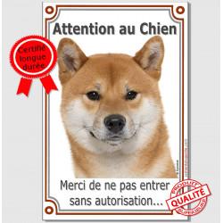 """Shiba-Inu fauve marron Tête, plaque """"Attention au Chien, interdit sans autorisation"""" pancarte panneau photo"""