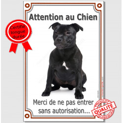 "Staffie noir Assis, plaque portail verticale ""Attention au Chien"" 24 cm"