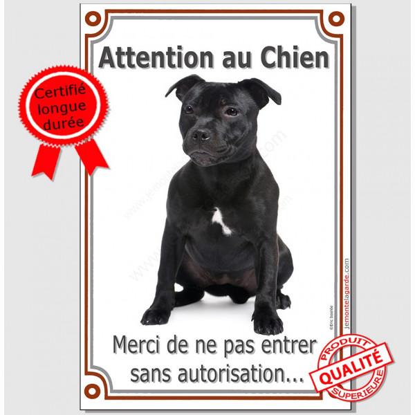 Staffie noir Assis Plaque Portail Verticale attention au chien, pancarte panneau interdit sans autorisation