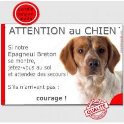 """Epagneul Breton orange marron et blanc tête, plaque humour """"Jetez Vous au Sol, Attention au Chien, courage"""" panneau pancarte drô"""