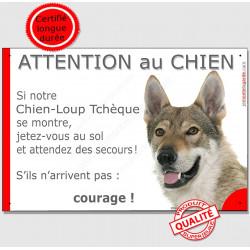 """Chien-Loup Tchèque, pllaque portail """"Attention au Chien, Jetez Vous au Sol"""" pancarte panneau humour drôle photo"""