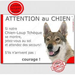 Plaque portail Jetez Vous au Sol, Chien-Loup Tchèque tête, Attention au Chien, pancarte panneau humour drôle