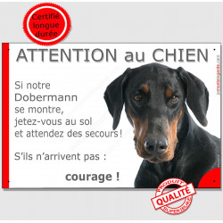 """Dobermann tête, plaque """"Jetez Vous au Sol, Attention au Chien"""" 24 cm JET"""