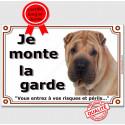 """Shar-Peï fauve, plaque """"Je Monte la Garde"""" 2 tailles LUX B"""