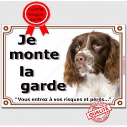 Springer Tête, Plaque portail je monte la garde, panneau, affiche pancarte, risque péril, springeur attention au chien