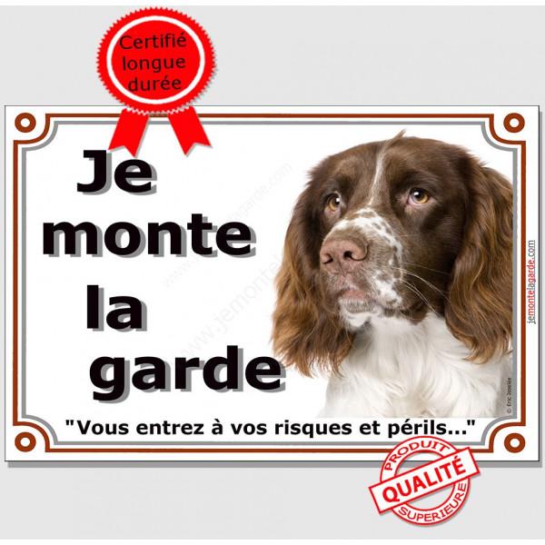 """Springer Tête, Plaque portail """"Je monte la garde, risque péril"""" panneau, affiche pancarte photo springeur attention au chien"""