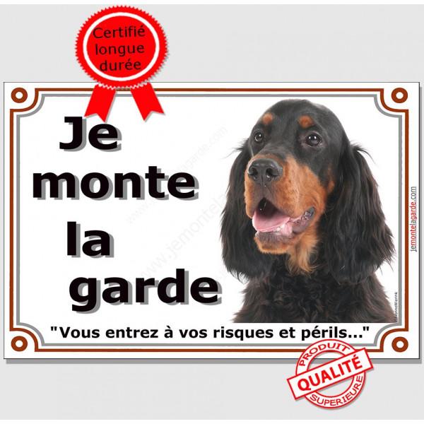 """Setter Gordon tête, plaque portail """"Je Monte la Garde, risques et périls"""" pancarte attention au chien panneau photo"""