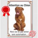 """Dogue Bordeaux, plaque verticale """"Attention au Chien"""" 24 cm VL-A"""