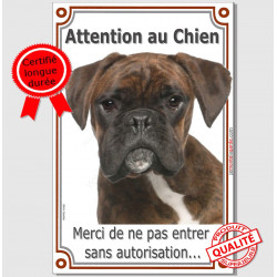 "Boxer Bringé Tête, plaque verticale ""Attention au Chien"" 24 cm VL-A"