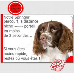 Plaque humour 24 cm, Distance Niche - Portail en moins de 3 secondes, Springer Tête, pancarte panneau attention au chien drôle