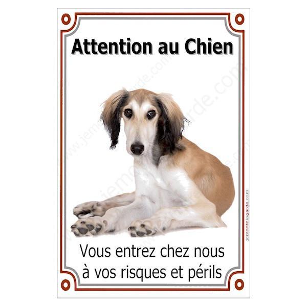 Lévrier Saluki Couché, Plaque Portail Attention au Chien verticale, risques périls, pancarte, affiche panneau