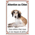 Plaque 24 cm LUXE Attention au Chien, Lévrier Saluki
