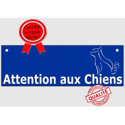 """Plaque ou sticker """"Attention auX ChienS"""" Barre Bleu 2 tailles pluriel A"""