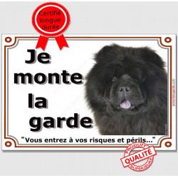 """Chow-Chow noir Tête, plaque portail """"Je Monte la Garde, risques et périls"""" pancarte panneau photo attention au chien"""