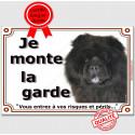 """Chow-Chow noir Tête, plaque """"Je Monte la Garde"""" 2 tailles LUX B"""