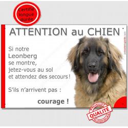 """Leonberg tête, plaque portail humour """"Jetez Vous au Sol, Attention au Chien"""" pancarte panneau courage photo"""