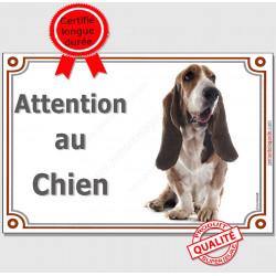 "Basset Hound Tête, plaque ""Attention au Chien"" 2 tailles LUX B"
