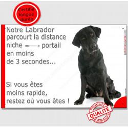 Plaque notre Labrador noir parcourt Distance Niche - Portail moins 3 secondes, assis pancarte panneau humour drôle marrant