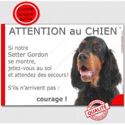 """Setter Gordon tête, plaque humour """"Attention au Chien, Jetez Vous au Sol"""" pancarte panneau drôle photo"""