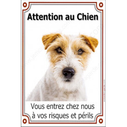 Plaque 24 cm LUXE Attention au Chien, Jack Russell Poils Durs
