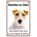 Plaque 24 cm LUXE Attention au Chien, Jack Russell Poils Durs