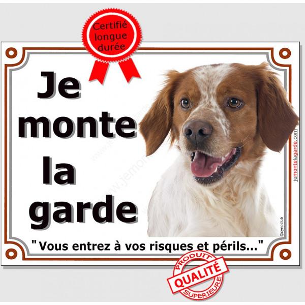 """Epagneul Breton blanc et orange Tête, plaque portail """"Je Monte la Garde, risques et périls"""" pancarte panneau affiche photo"""
