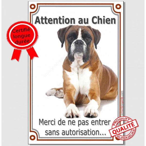 Boxer Fauve, Plaque Portail Attention au Chien verticale, panneau pancarte affiche, orange interdit autorisation entre
