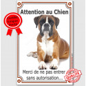 "Boxer Fauve, plaque verticale ""Attention au Chien"" 24 cm VLC"