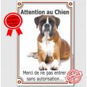 """Boxer Fauve couché, plaque verticale """"Attention au Chien"""" 24 cmVL-A"""