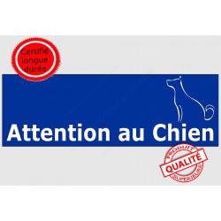 """Plaque portail ou sticker autocollant """"Attention au Chien"""" Barre Bleu, pancarte panneau adhésif"""