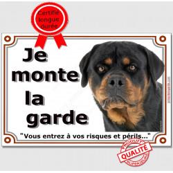 Plaque portail Je Monte la Garde, Rottweiler Tête, risques et périls panneau pancarte rott attention au chien photo