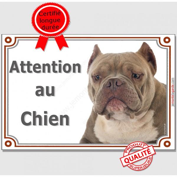 Plaque portail Attention au Chien, American Bully red nose Tête pancarte panneau oreilles coupées photo