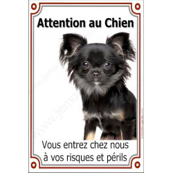 "Chihuahua, plaque ""Attention au Chien"" verticale 24 cm VL"