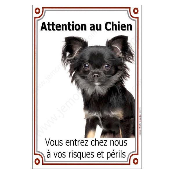 Chihuahua Poils longs noir et feu Tête, Plaque Portail Attention au Chien verticale, risques périls, pancarte, affiche panneau