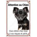 Plaque 24 cm LUXE Attention au Chien, Chihuahua Poils longs noir et feu
