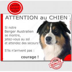 """Aussie Tricolore Tête, plaque """"Jetez Vous au Sol, Attention au Chien"""" 24 cm"""