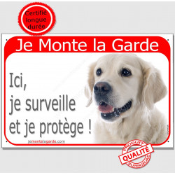 "Golden Retriever Tête, plaque rouge ""Je Monte la Garde"" 24 cm RED A"
