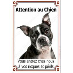 Boston Terrier, plaque Attention au Chien portail verticale 24 cm luxe