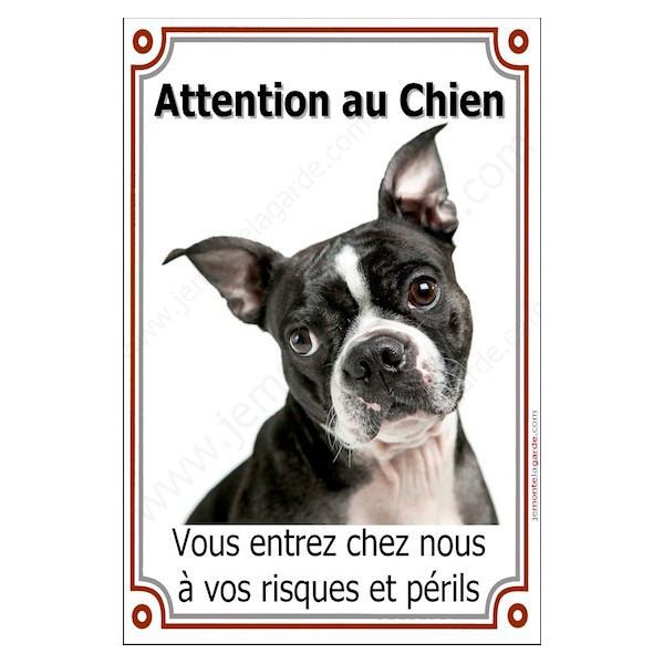 Boston Terrier Tête, Plaque Portail Attention au Chien verticale, risques périls, pancarte, affiche panneau