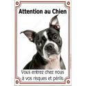 Plaque 24 cm LUXE Attention au Chien, Boston Terrier
