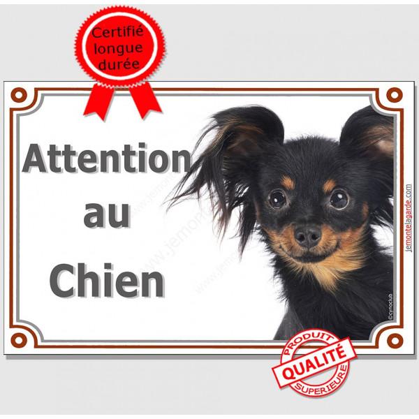 """Plaque portail """"Attention au Chien"""" Russkiy Toy noir et feu Tête, pancarte panneau petit chien russe photo"""
