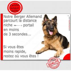 """Berger Allemand, plaque """"distance Niche - Portail"""" 24 cm 3SEC"""