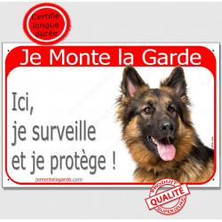Berger Allemand Poils Longs Tête, Plaque Portail Je Monte la Garde,  surveille protège, pancarte, panneau attention au chien