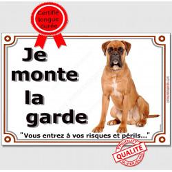 Boxer Fauve Assis, Plaque Je Monte la Garde, panneau affiche, risques périls entier pancarte attention au chien